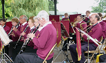 The woodwind section on Godalming Bandstand, 2012